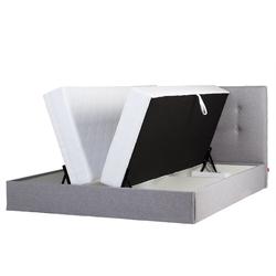 Łóżko Lectus II 160x200 z materacem i pojemnikiem pikowane szare