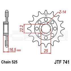 Zębatka przednia jt f741-15, 15z, rozmiar 525 2201275 ducati portedefolio 1100, ducati st3 1000
