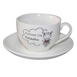 Filiżanka do kawy i herbaty ze spodkiem dzień dziadka porcelana altom design kocham cię, dziadku - dziewczynka 200 ml