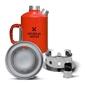 Aluminiowa kuchenka czajnik turystyczny survival kettle czerwona - zestaw ze stalowym paleniskiem
