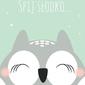 Śpiąca sowa miętowe tło - plakat wymiar do wyboru: 21x29,7 cm