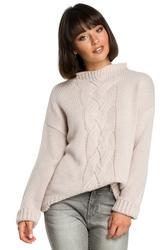 Sweter damski z warkoczem różowy bk003