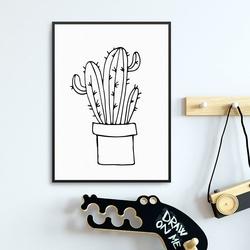 Scandi cactus - plakat dla dzieci , wymiary - 50cm x 70cm, kolor ramki - biały