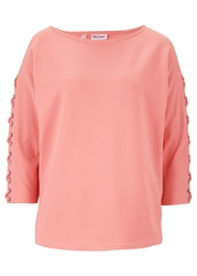 Bluza z ozdobnym sznurowaniem bonprix jasny koralowy
