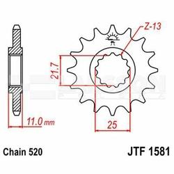 Zębatka przednia JT F1581-15, 15Z, rozmiar 520 2200984 Yamaha YZF-R6 600
