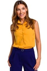 Żółta elegancka bluzka bez rękawów