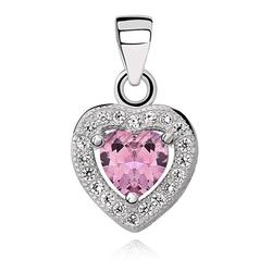 Srebrna zawieszka pr.925 serce z różową cyrkonią - rodowanie  jasnoróżowa