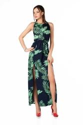 Długa sukienka bez rękawów z tropikalnym nadrukiem