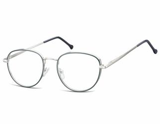 Owalne okulary oprawki optyczne 918f granatowo-srebrne