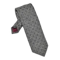 Elegancki szary krawat van thorn z szantungu we wzór paisley