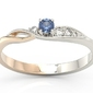 Pierścionek z białego i różowego złota z szafirem i brylantami bp-7810bp - białe i różowe  szafir