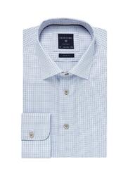 Elegancka błękitna koszula męska profuomo originale w drobną krateczkę 42