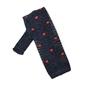 Granatowy krawat knit w czerwone kwadraty