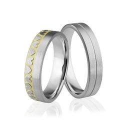 Obrączki srebrne pozłacane z sercami - wzór ag-291