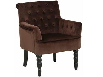 Elegancki brązowy fotel amanda na czarnych toczonych nogach