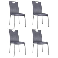 Vidaxl krzesła stołowe, 4 szt., zamszowy szary, sztuczna skóra