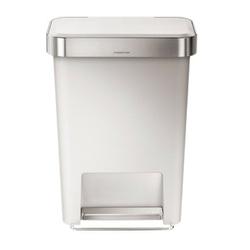 Simplehuman - kosz pedałowy liner pocket 45l - biały + srebrny - biały || srebrny
