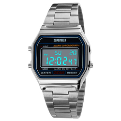 Zegarek SKMEI 1123 LED bransoleta RETRO silver - SILVER