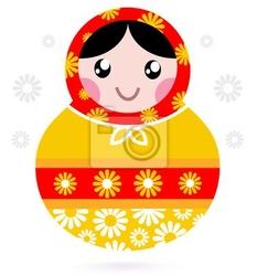 Naklejka śliczne drewniane russian doll - matrioszka żółty i czerwony