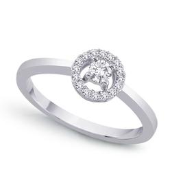 Staviori pierścionek z białego złota 0,585 z centralnie umieszczonym diamentem, szlif brylantowy
