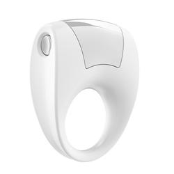 Wibrujący pierścień na penisa - ovo b8 vibrating ring biały