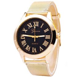Zegarek damski GENEVA klasyczny mesh ZŁOTY czarny - czarny złoty
