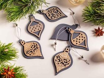 Zawieszki choinkowe  dekoracja na boże narodzenie drewniana altom design popielata z brokatem, komplet 6 zawieszek