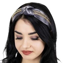 Opaska do włosów szara węzeł zdobiona kryształy