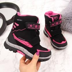 Śniegowce wodoodporne dziewczęce czarne american club - czarny  różowy