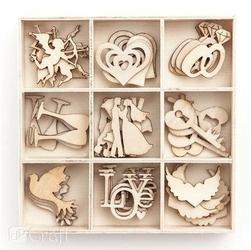 Zestaw drewnianych dekoracji 45 szt. - ślub