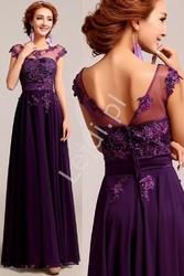 Luksusowa suknia z perełkami i koralikami, śliwka