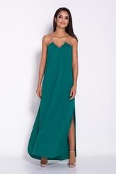 Zielona elegancka wieczorowa sukienka maxi na łańcuszku