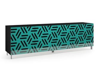 Nowoczesna komoda calisia czarno-turkusowa z motywem geometrycznym  szer. 240 cm
