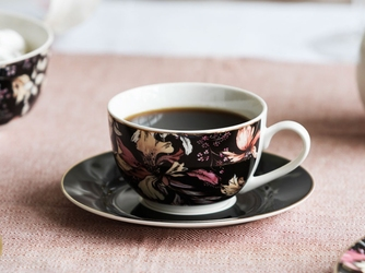 Filiżanka do kawy i herbaty porcelanowa ze spodkiem altom design black lily 200 ml