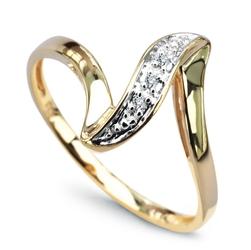 Staviori Pierścionek Stylowy Żółtego i Białego Złota 0,585. 3 Diamenty, szlif brylantowy