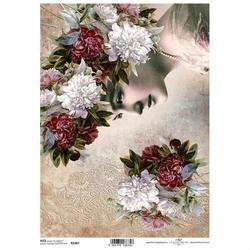 Papier ryżowy itd a4 r1367 peonia kwiaty kobieta