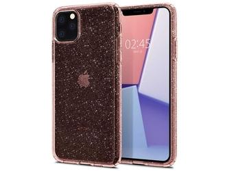 Etui spigen liquid crystal glitter iphone 11 pro max rose quartz +szkło - różowy