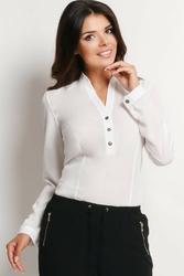 Ecru stylowa koszula z guzikami przy dekolcie