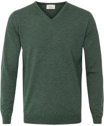 Sweter  pulower v-neck z wełny z merynosów zielony xxl