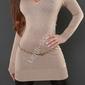 Beżowy sweter - tunika z taśmą gipiurową na plecach i cyrkoniami, 8084