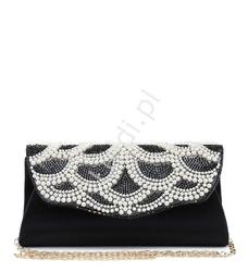 Czarno biała torebka z perłowym wzorem i kryształkami swarovskiego