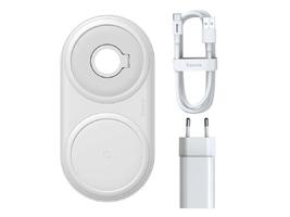Ładowarka indukcyjna qi 2w1 baseus do smartfona i apple watch 10w biała