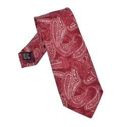 Bordowy krawat lniany we wzór paisley