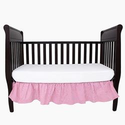 Falbana dekoracyjna do łóżeczka - paski - różowe