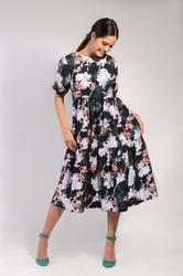 Czarna ultrakobieca sukienka midi z falbankami w kwiaty