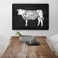 Wołowina krowa - designerski plakat do kuchni lub jadalni , wymiary - 20cm x 30cm, kolor ramki - biały