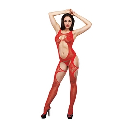 Mocno powycinane bodystocking - lapdance open front lace bodystocking red sm