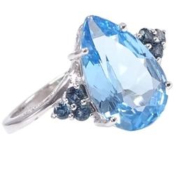 Błękitny ptak złoty pierścionek z niebieskim topazem 5,3 ct