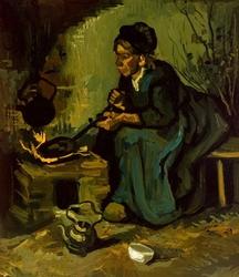 Peasant woman cooking by a fireplace, vincent van gogh - plakat wymiar do wyboru: 40x50 cm