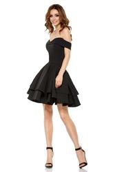 Czarna elegancka imprezowa sukienka z odkrytymi ramiona